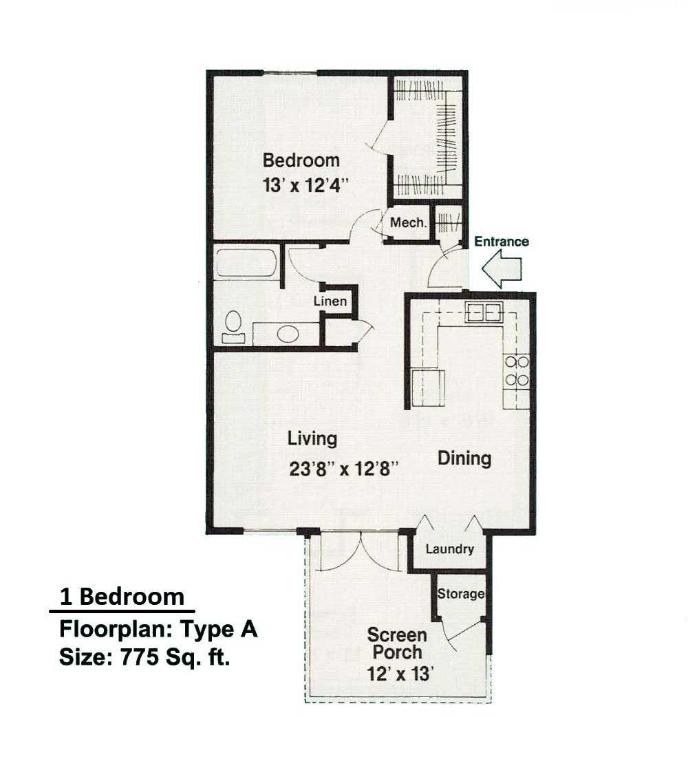 1 Bedroom floorplan A