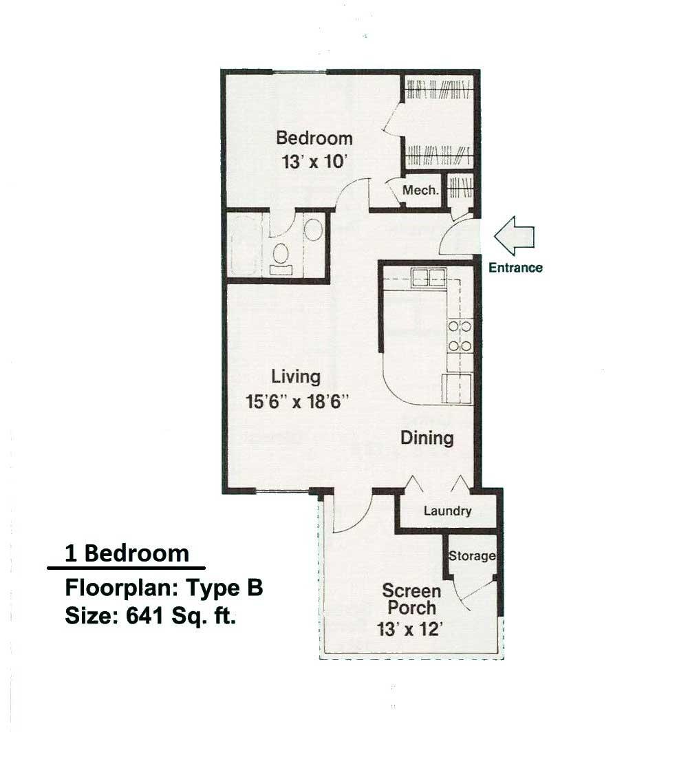 1 bedroom floorplan B