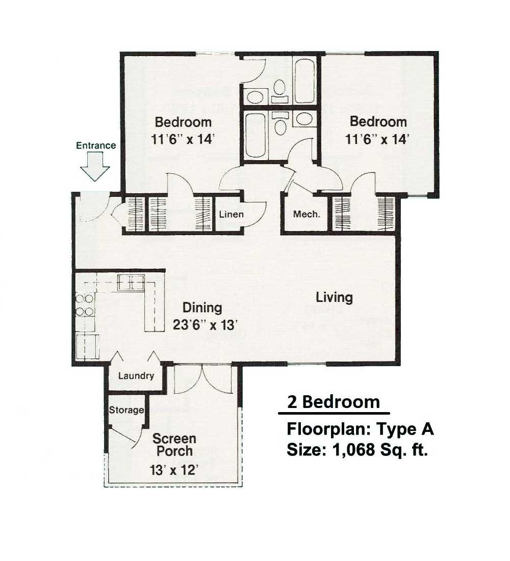 2 bedroom floorplan A