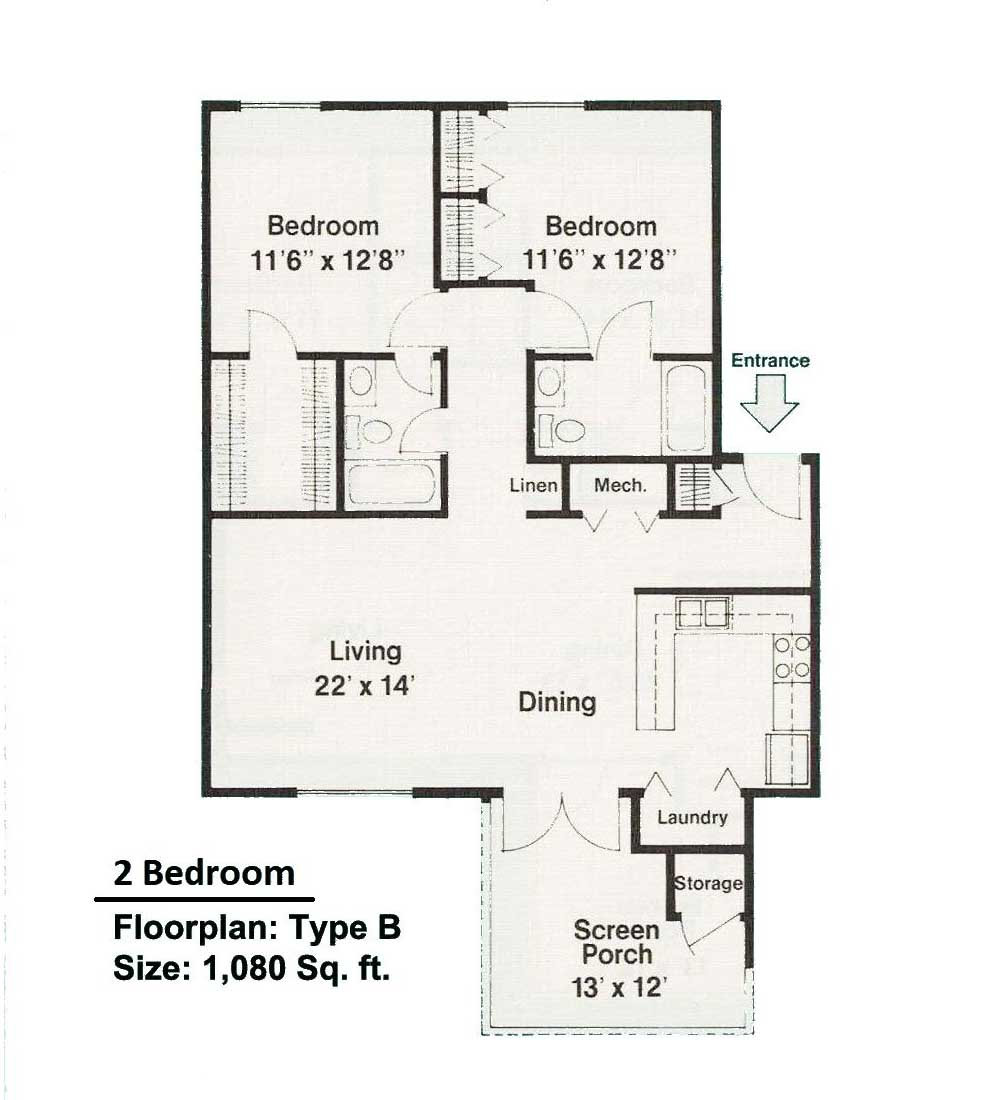 2 bedroom floorplan B